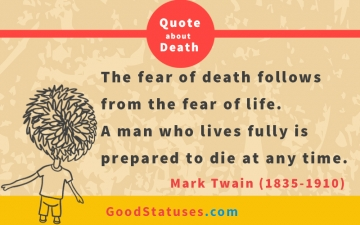 The fear of death - Death Statuses and Quotes