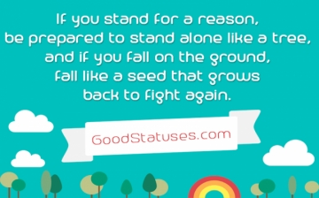 To stand alone like a tree - Alone status and quote