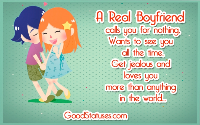 A real boyfriend calls you for nothing - Real Boyfriend quotes and sayings